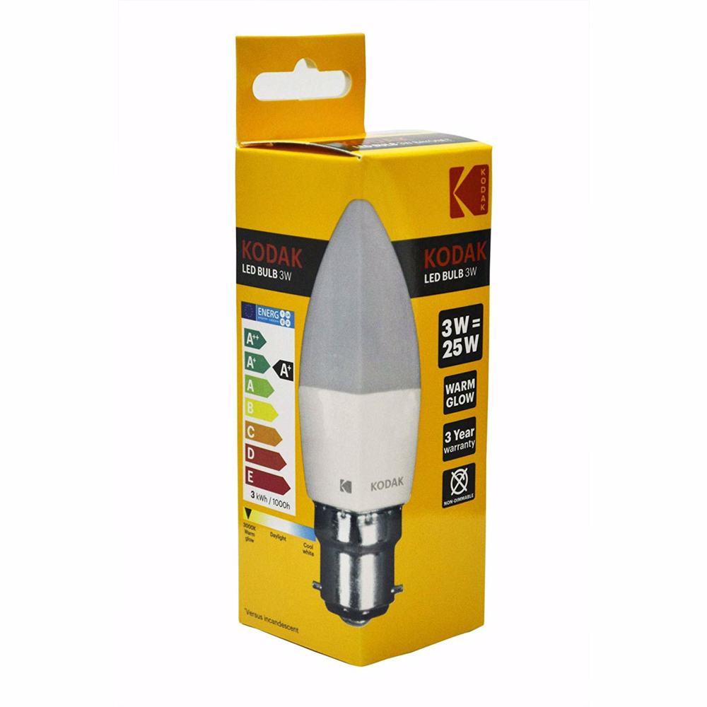 Kodak Led Bulb Candle C37 B22 3W - Warm Glow