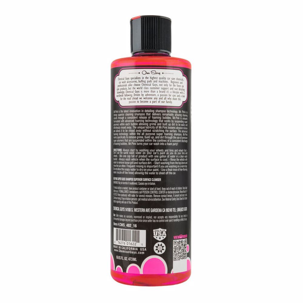 Chemical Guys CWS_402_16 Mr. Pink Super Suds Shampoo & Superior Surface Cleanser - 16oz