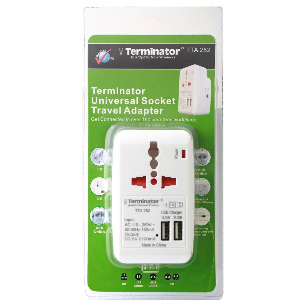 Terminator Travel Adaptor Multi Pin with Universal & 2RP Socket+2 USB 2.1A - TTA 252