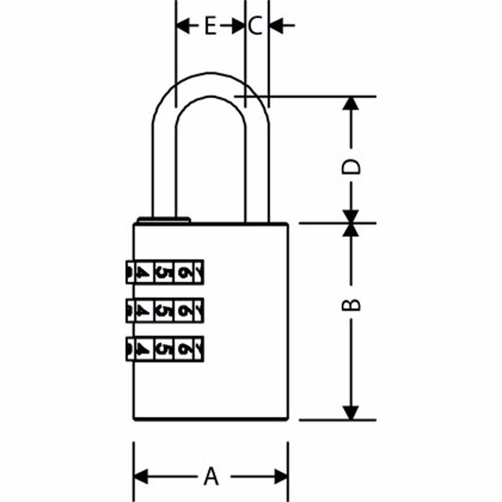 Yale Y150 3-Digit Combination Brass Padlock 30 mm
