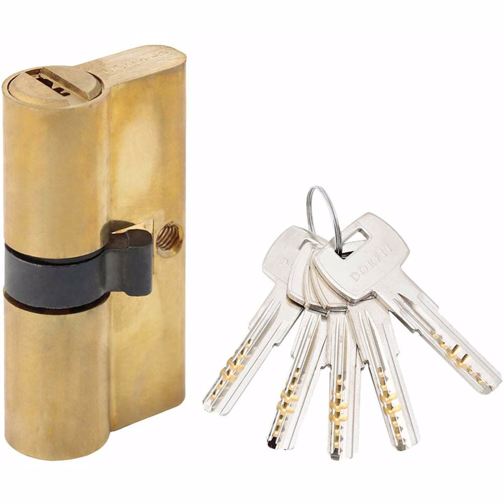 Double Cylinder Door Lock With Dimple/Computerized Key 6 Pin Gold 60 mm