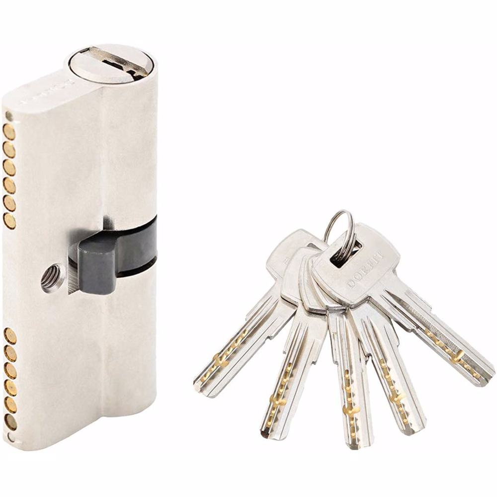 Double Cylinder Door Lock With Dimple/Computerized Key 6 Pin Silver 70 mm