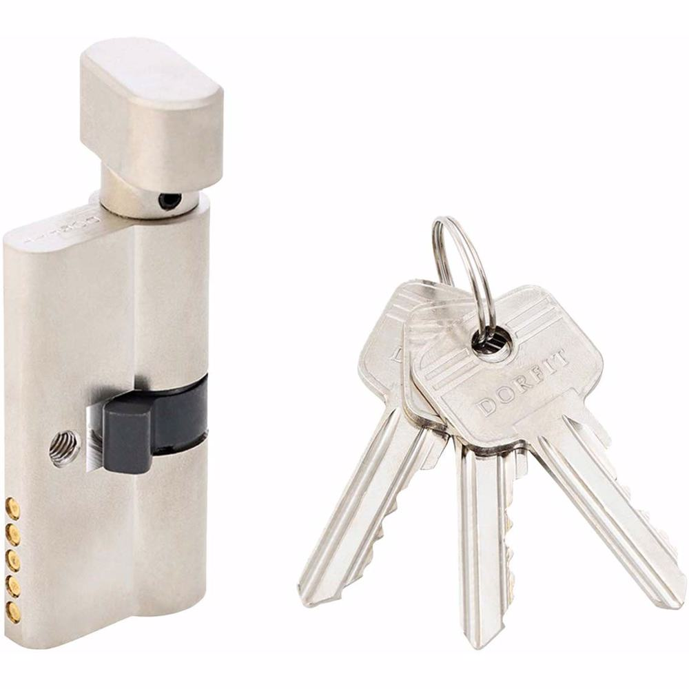 Turn Knob and Key Cylinder Door Lock 5 Pin Silver 60 mm