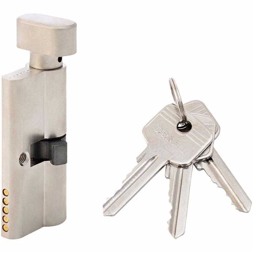 Turn Knob and Key Cylinder Door Lock 5 Pin Silver 70 mm