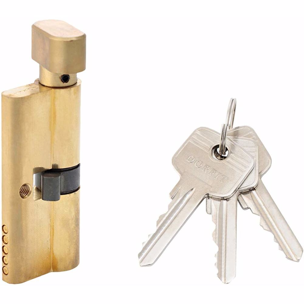 Turn Knob and Key Cylinder Door Lock 5 Pin Gold 70 mm