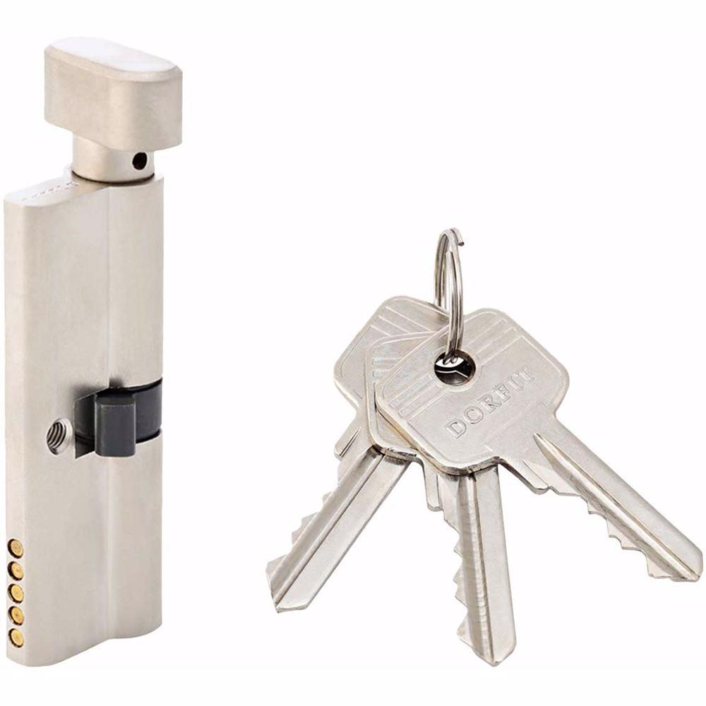 Turn Knob and Key Cylinder Door Lock 5 Pin Silver 80 mm