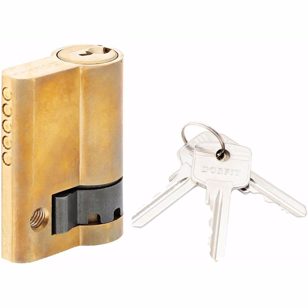 Half Cylinder with Key Door Lock 5 Pin Gold 45 mm