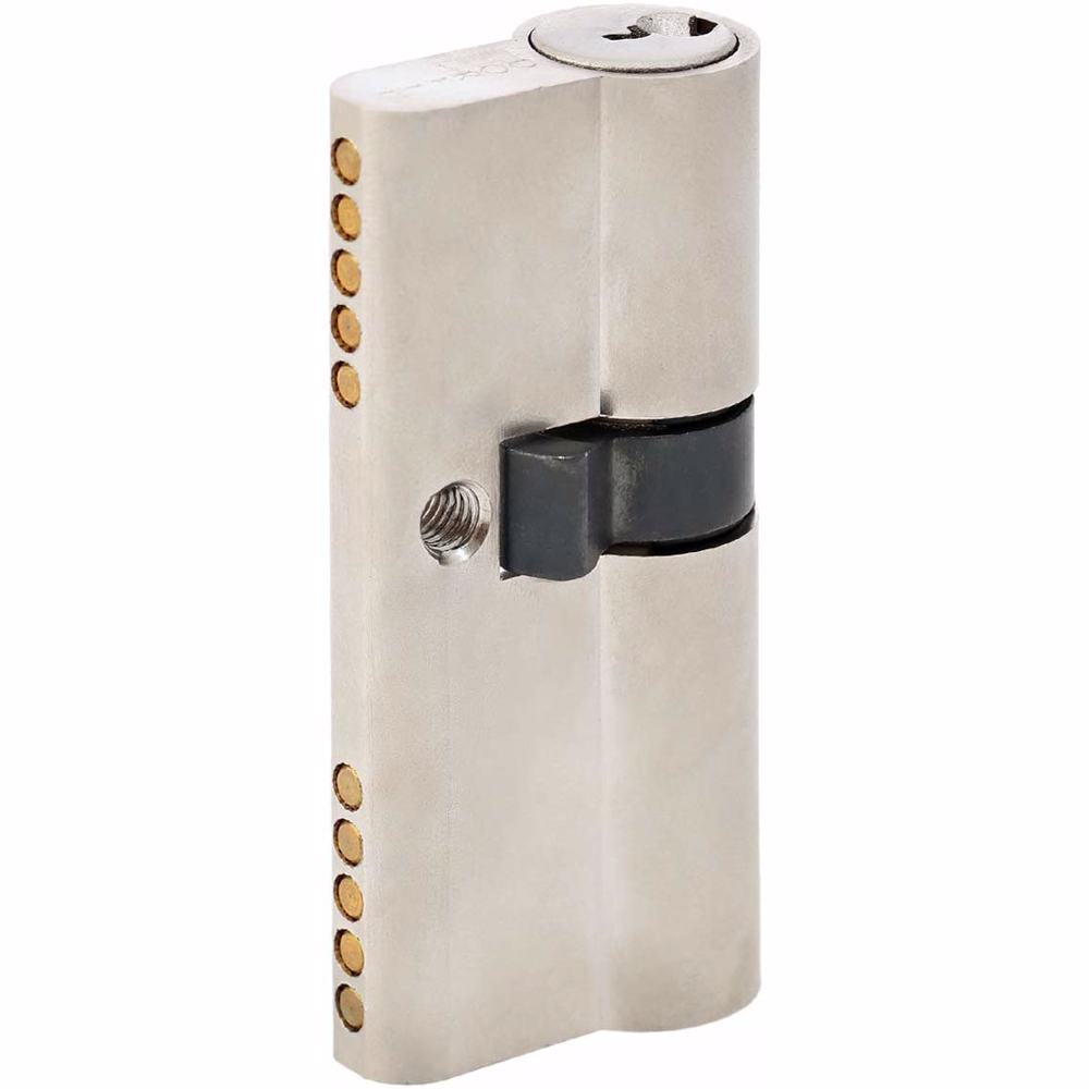 Unequal Double Cylinder Door Lock with Key 5 Pin Silver 30/40 mm