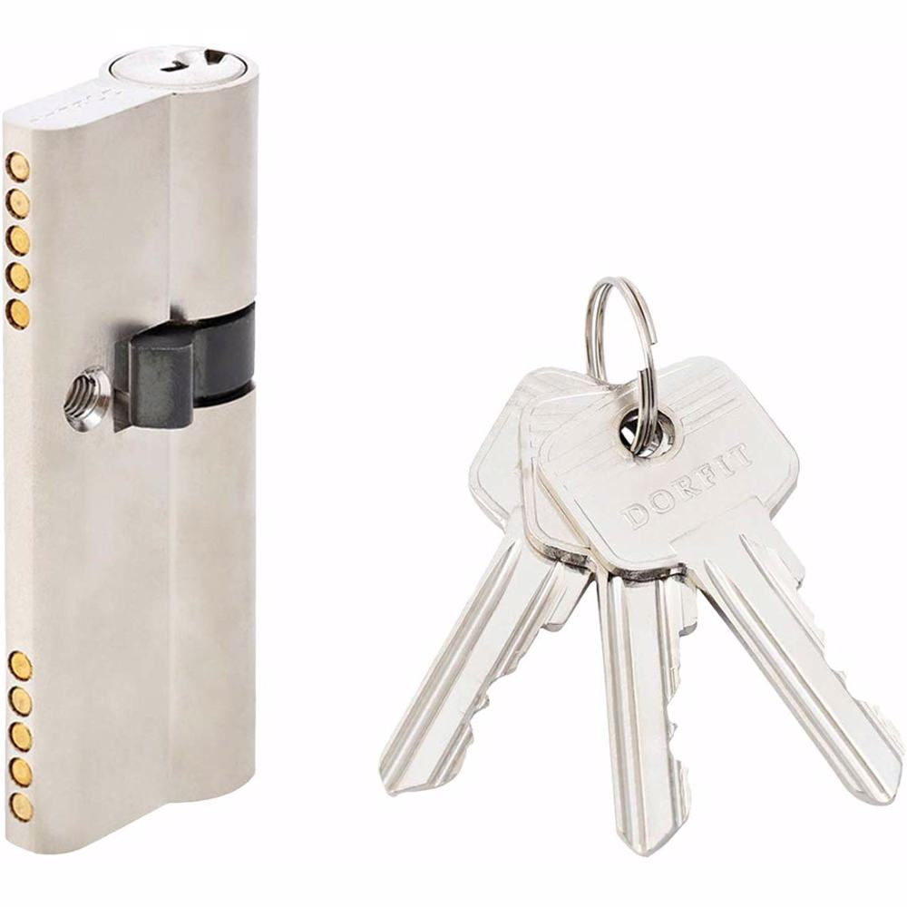 Unequal Double Cylinder Door Lock with Key 5 Pin Silver 30/50 mm