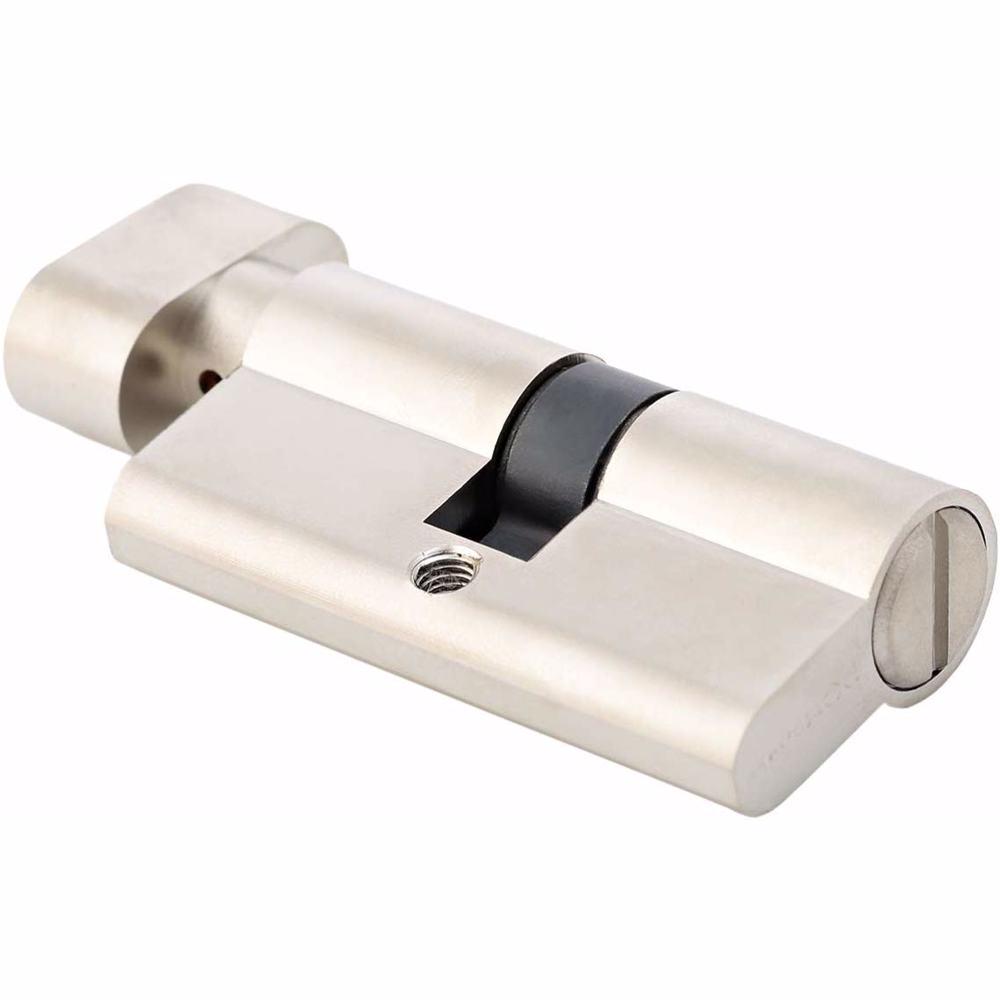 Bathroom Knob Turn Door Cylinder Silver 60 mm