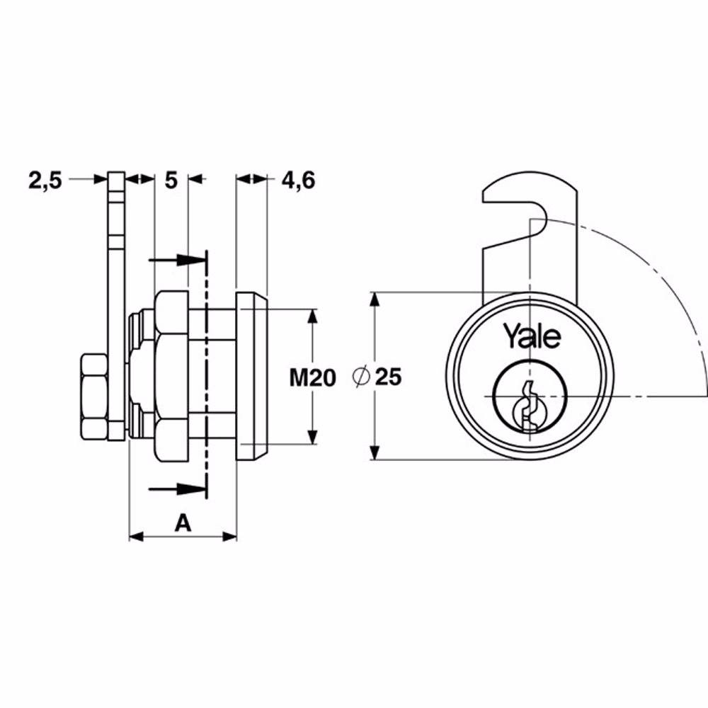Yale 891 Universal Cylinder for metal cabinets 30mm Nickle Plated Brass 90° rotation