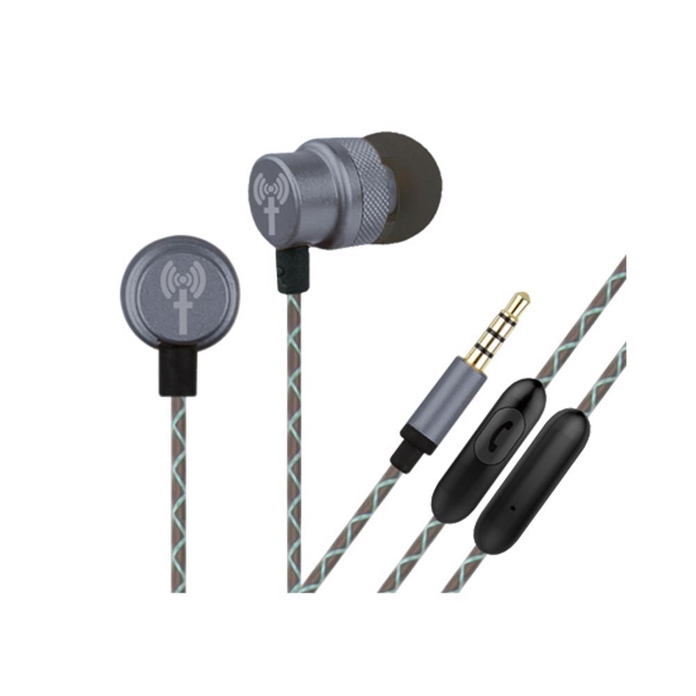 TechMate DT EM290 GY Metal EarPhone with Mic - Grey