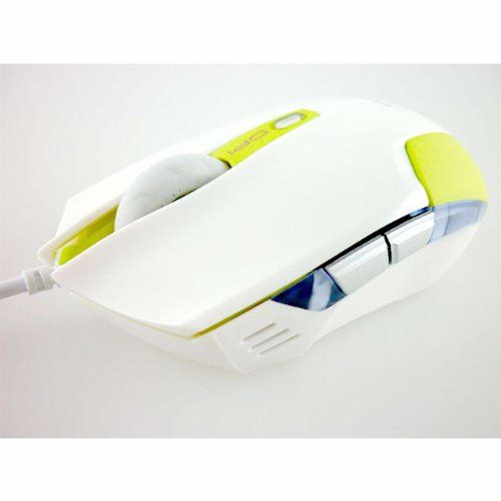 E BLUE EMS128GR Cobra S Compact Optical Gaming USB Mouse - 1600 DPI, White/Green