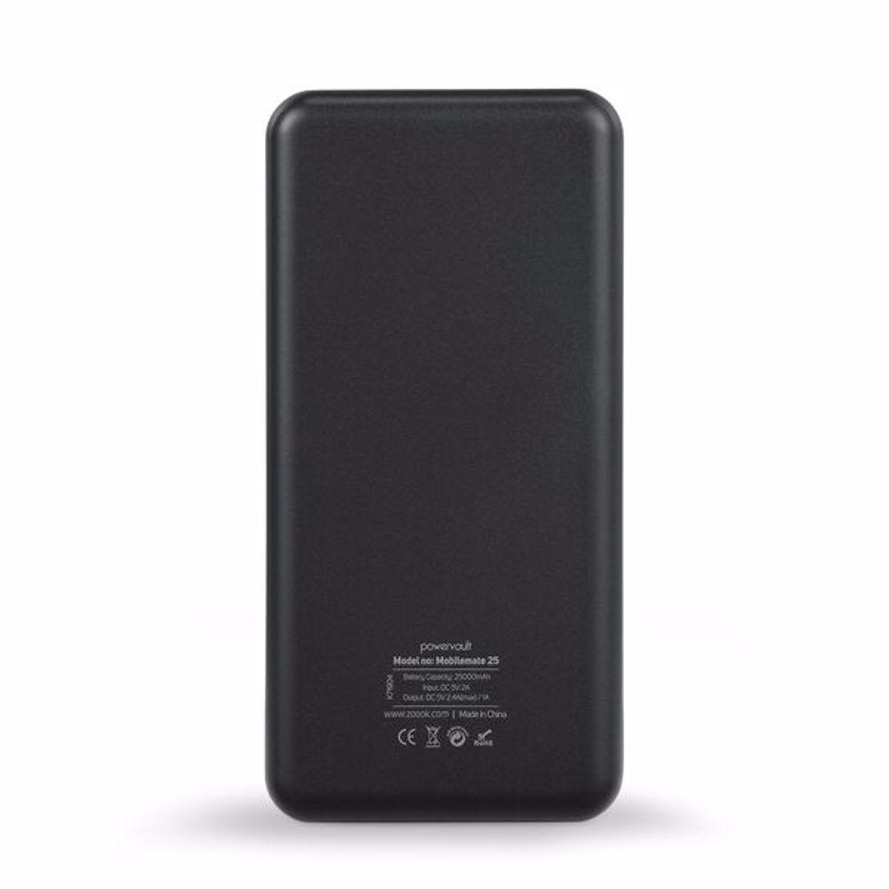 Zoook ZP PB25KA Mobilemate25 Mobile Portable Charger 25,000mAh Dual USB Rapid Charging Ports, Polymer - Black