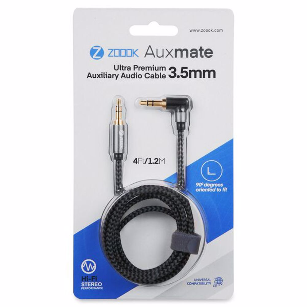 Zoook AuxMate Premium Nylon Braided Aux Connector gold plated with 90 degree angle - Silver+Black