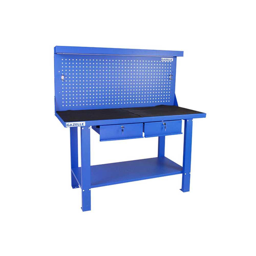 GAZELLE - G2605 59 Inch Steel Workbench with pegboard and drawers