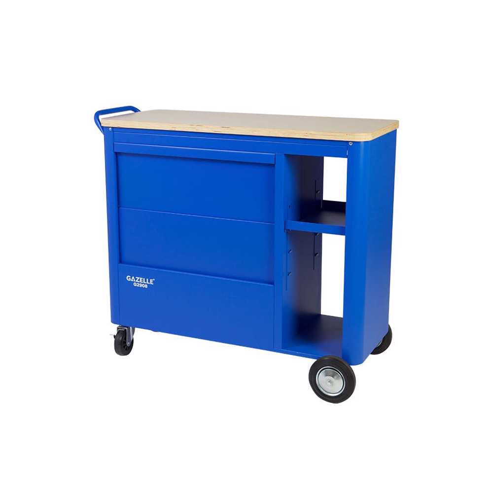 GAZELLE - G2908 40 Inch 5-Drawer Mobile Workbench with Solid Wood Top