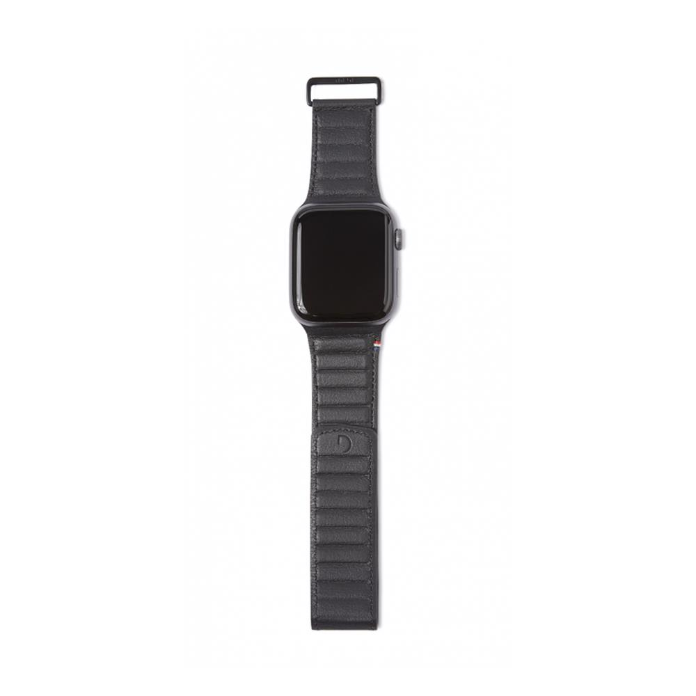 DECODED 42-44mm Leather Magnetic Traction Strap for Apple Watch Series 5, 4, 3, 2, and 1 - Black