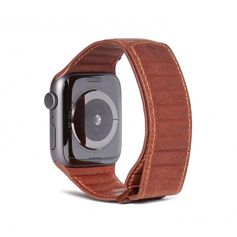 DECODED 42-44mm Leather Magnetic Traction Strap for Apple Watch Series 5, 4, 3, 2, and 1 - Brown