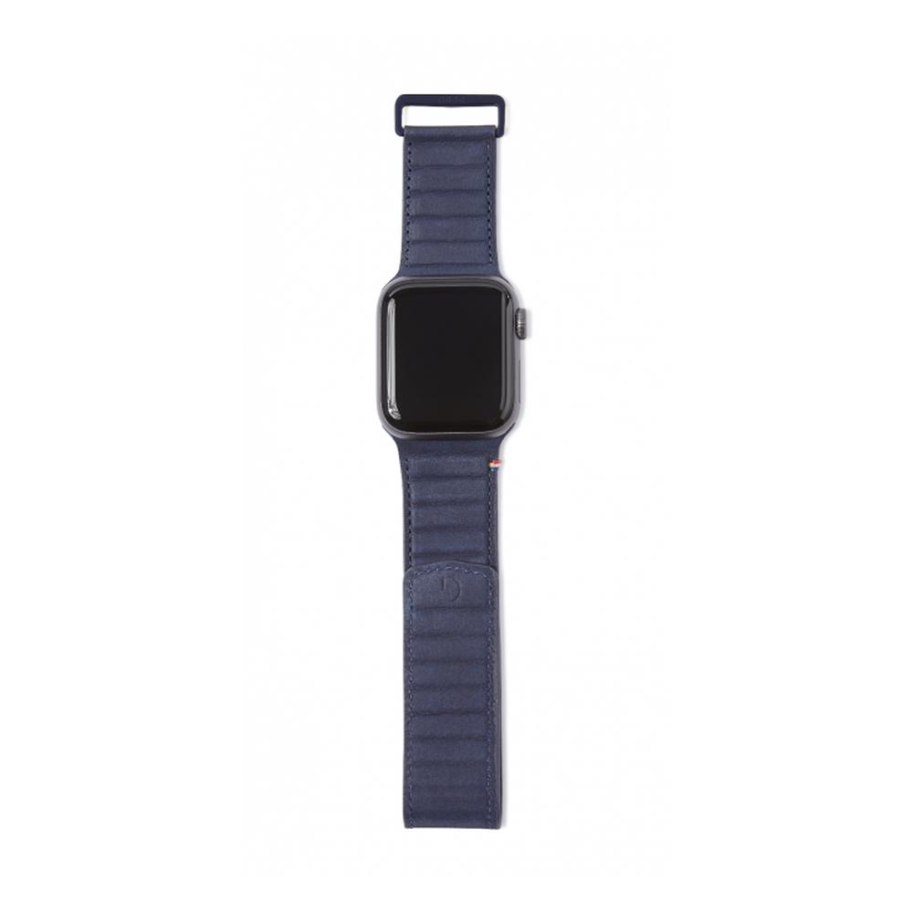 DECODED 42-44mm Leather Magnetic Traction Strap for Apple Watch Series 5, 4, 3, 2, and 1 - Blue