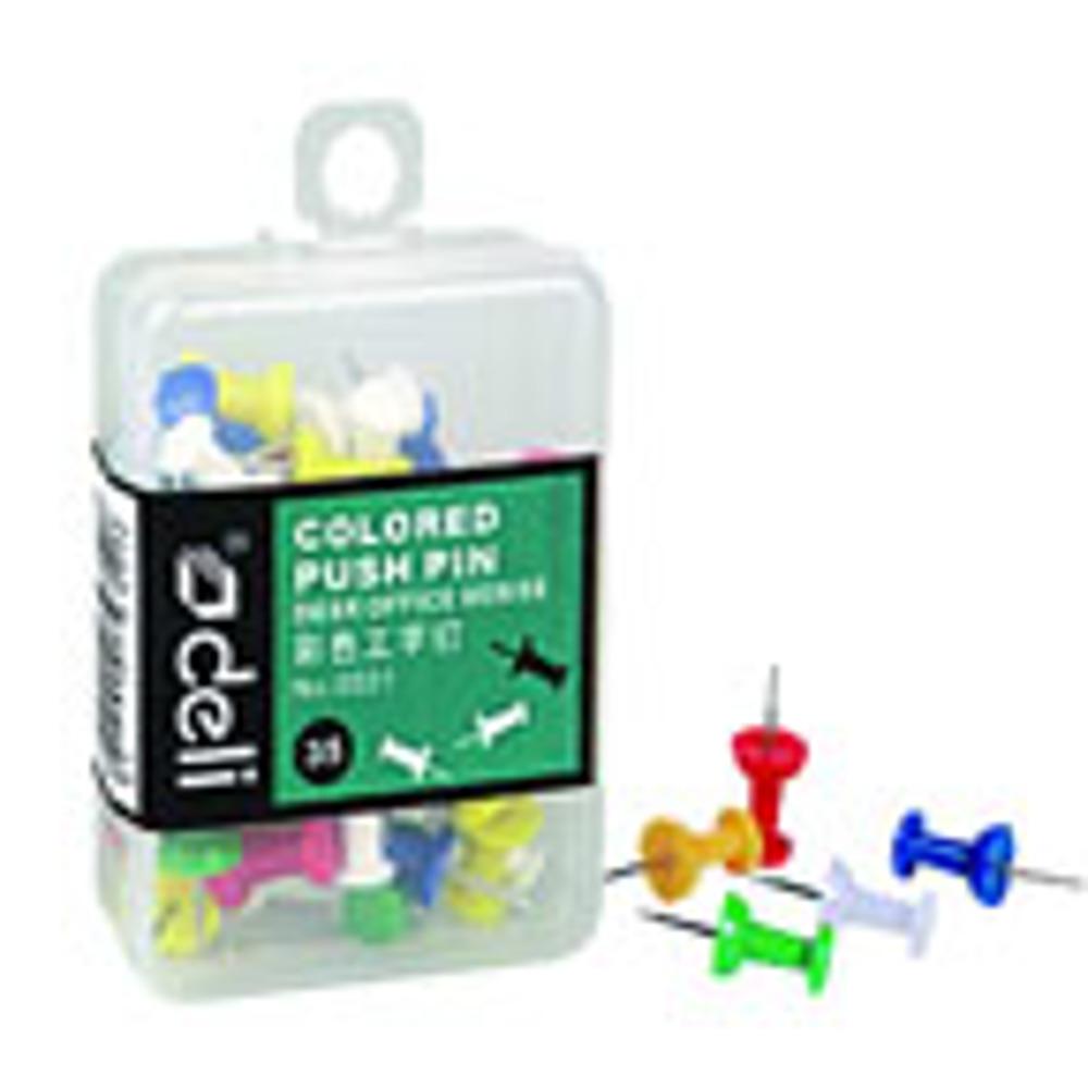 Deli Color Push Pin(Assorted) (Box)- 1X30 Pcs