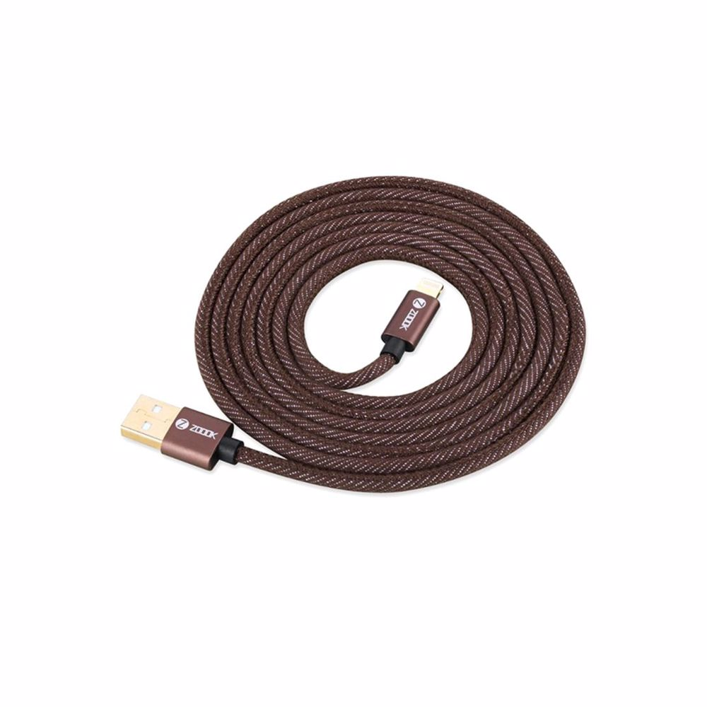 Zoook Denim Fabric Pure Copper Cable for Charge & Sync 1m / 2A Support/ iPhone/iPad - Denim Brown
