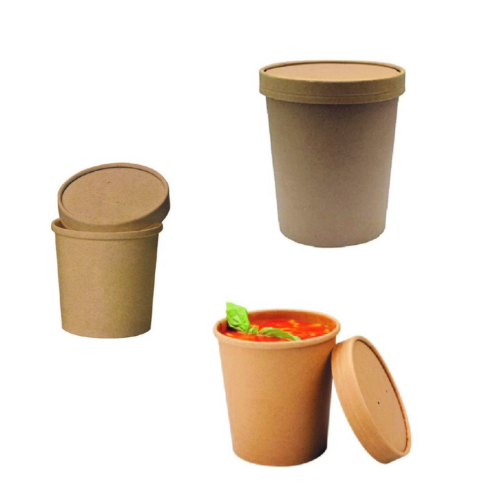 BioWare 500 Piece Kraft Soup Cup 16oz w/ Lid Biodegradable