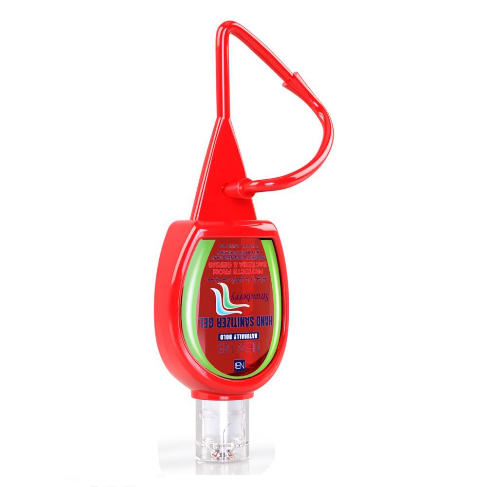 New NB Sanitizer Gel With Silicon Holder – 30 ML (Strawberry) - Flip Top - Round
