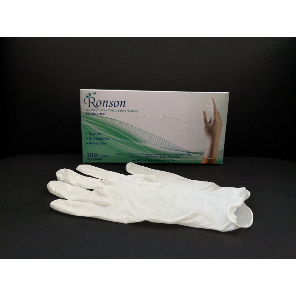 Ronson Latex Gloves Medium Neutral 100pcs Powdered