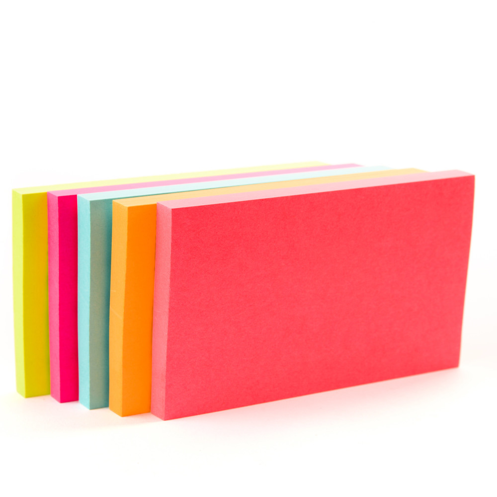 Post-it® Notes 655-5PK, 3 in x 5 in, Neon Colors -Multicolor