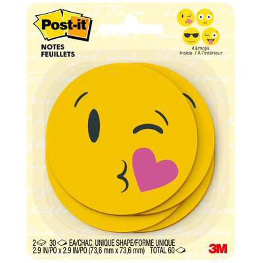 Post-it® Notes, BC-2030-EMOJI, 2.9 in x 2.9 in, Multicolor