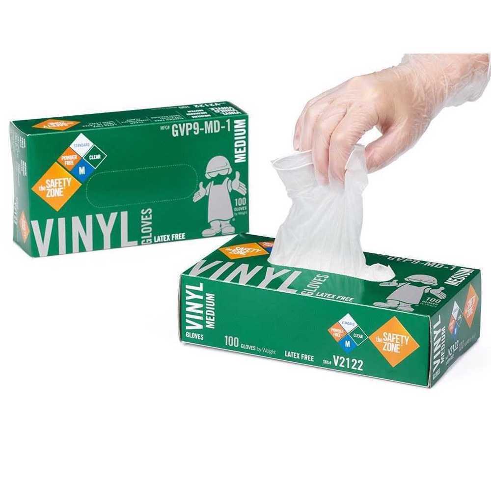 Safety Zone Vinyl Gloves Large Neutral 100 Pcs/Box Powder Free