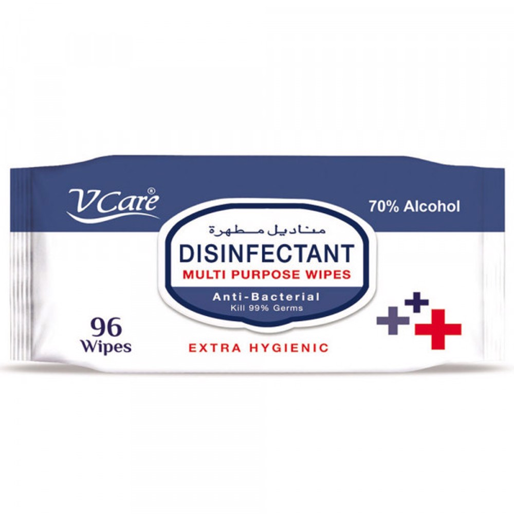 V Care Disinfectant Multipurpose Wipes 96's - 70% Alcohol