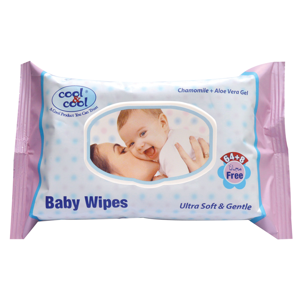Cool & Cool Baby Wipes 64's plus 8 Wipes Free