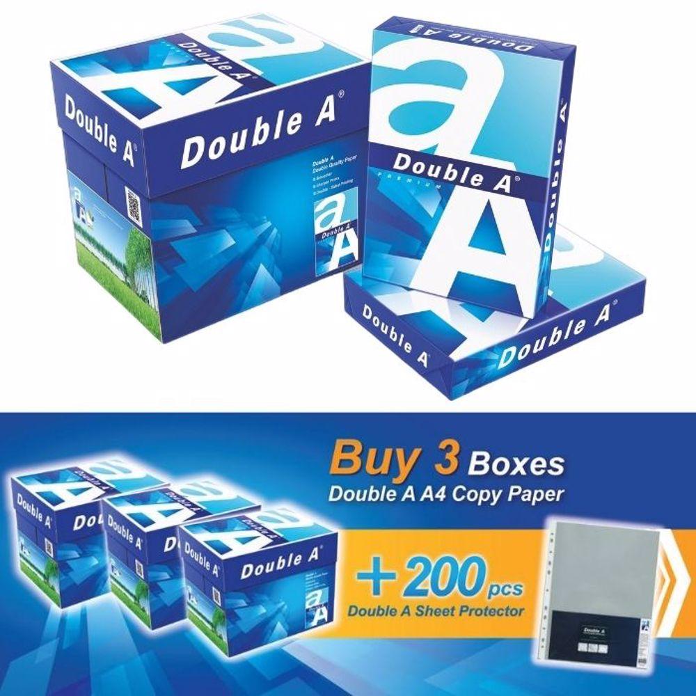 Double A A4 (3 Box + 200 PCs A4 Sheet Protector) Bundle Offer