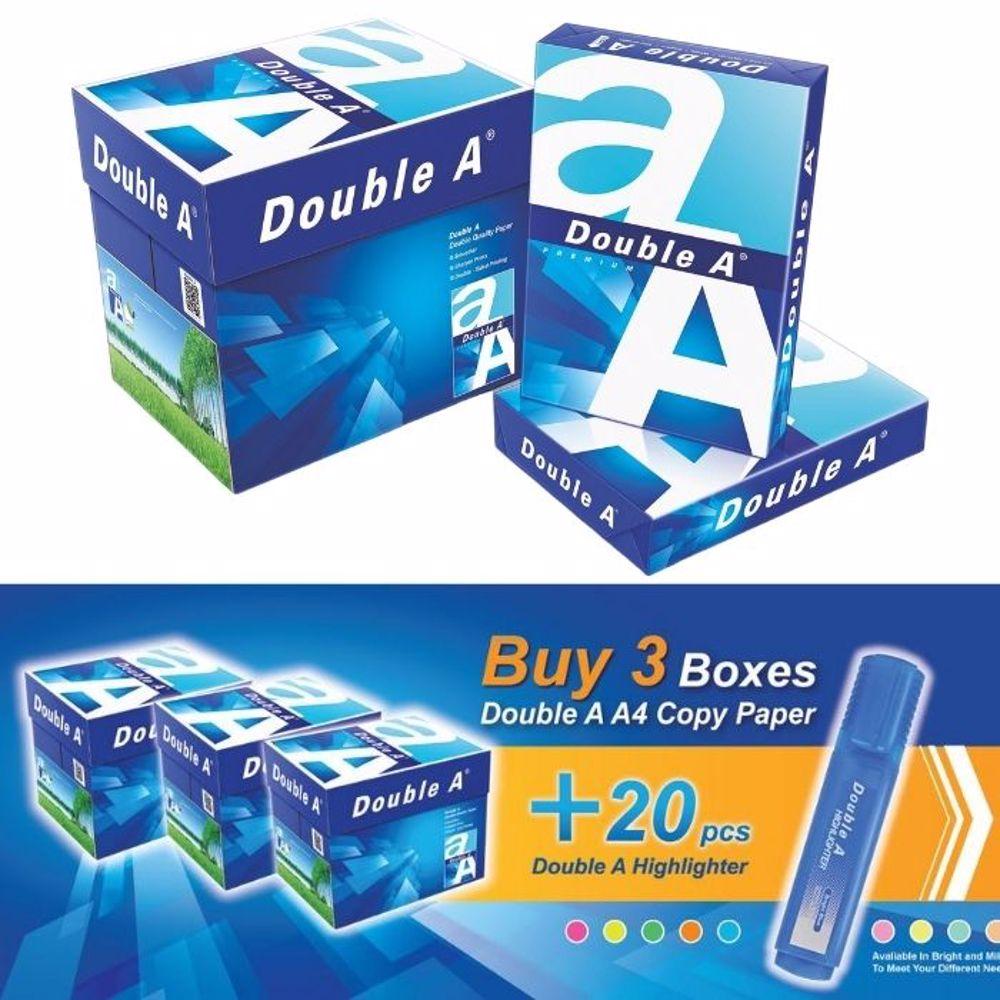 Double A A4 (3 Box + 20 PCs Highlighter Pen) Bundle Offer