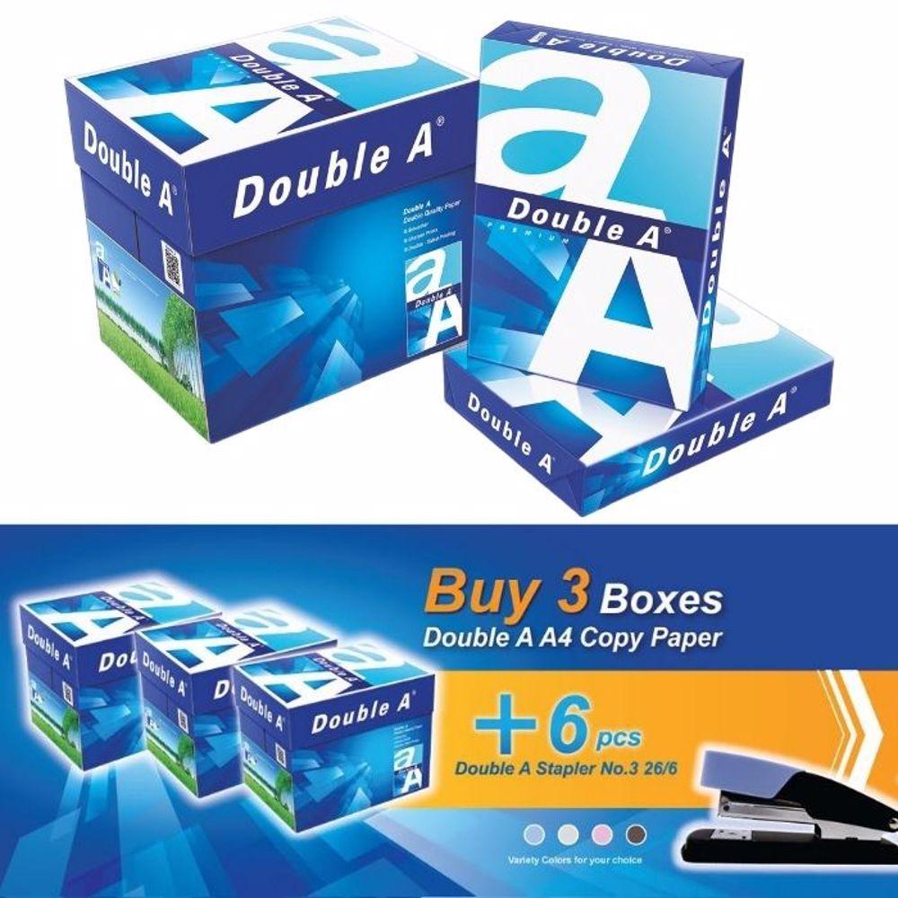 Double A A4 (3 Box + 6 PCs Stapler 26/6) Bundle Offer