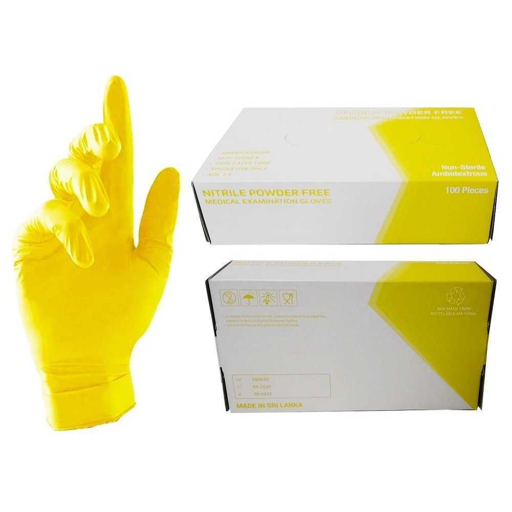 Nitrile Gloves Medium Yellow 100Pcs/Pkt Powder Free