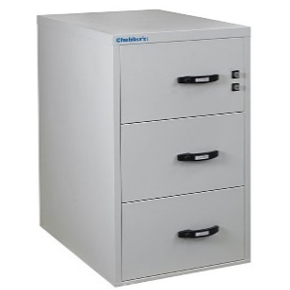 Chubbsafes Profile NT Fire Resistant Document Protection Cabinet Model NT 120 31In - 3 Dr With 3 Drawers-139L
