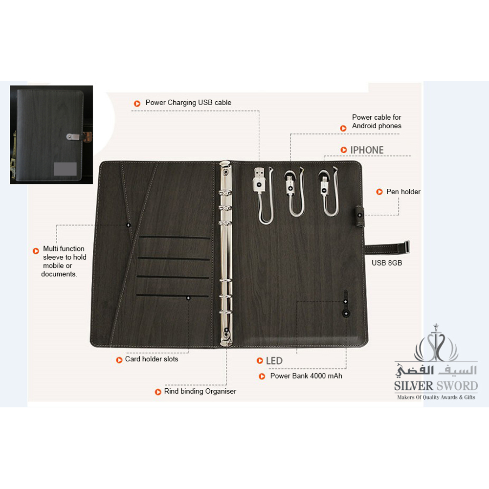 Pu Leather Notebook With Usb And Powerbank With Silver Metal Plate-Black