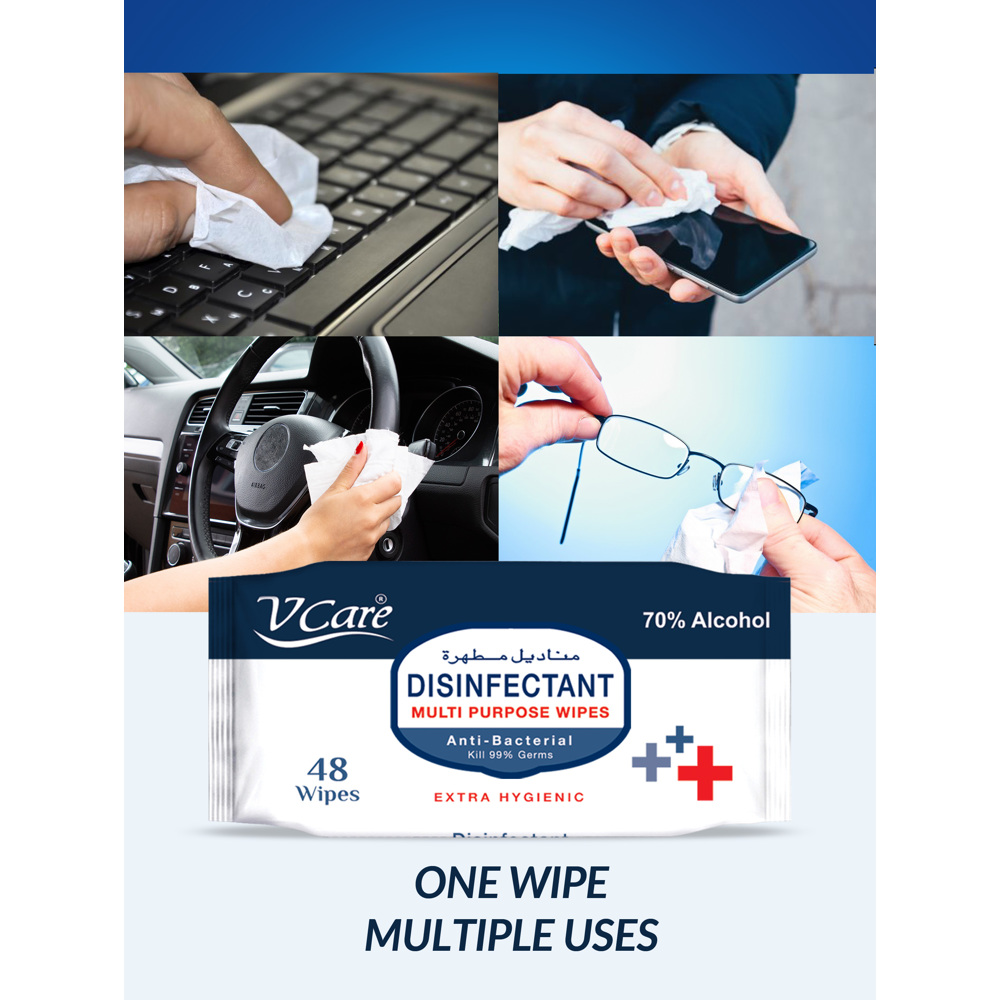 V Care Disinfectant Multipurpose Wipes 48's - 70% Alcohol