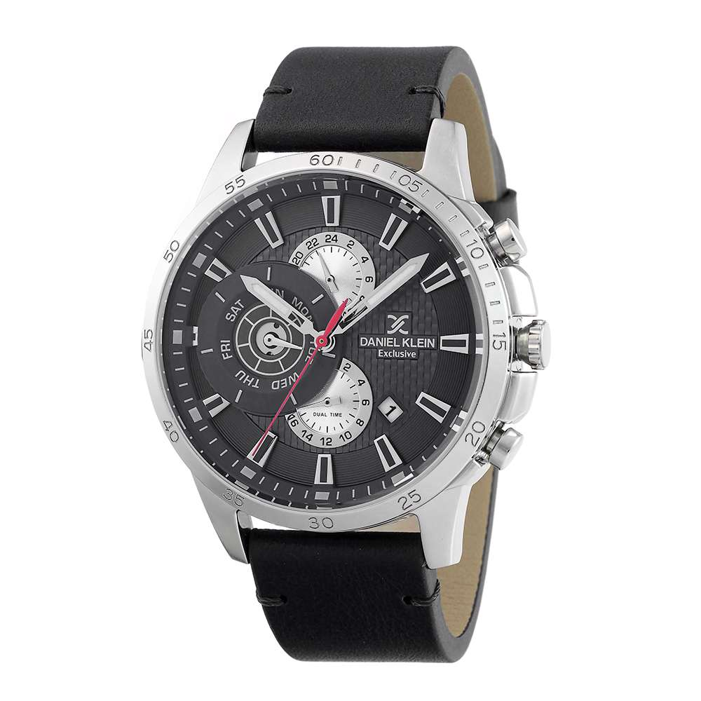 Leather Mens''s Black Watch - DK.1.12255-2
