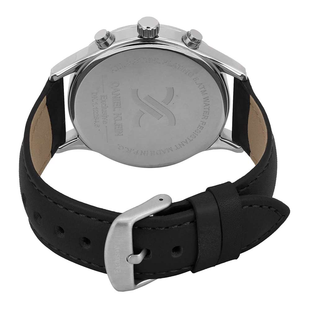 Leather Mens''s Black Watch - DK.1.12284-2