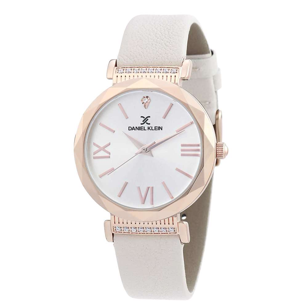 Leather Womens''s White Watch - DK.1.12285-6