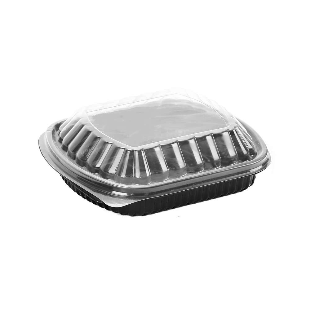 MPC PP Black Base Container With Clear Lid- 1 Compartment- 250pcs