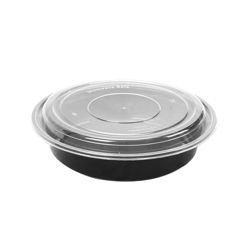 MPC PP Black Base Round Microwaveable Container With Clear Lid RO24- 150pcs
