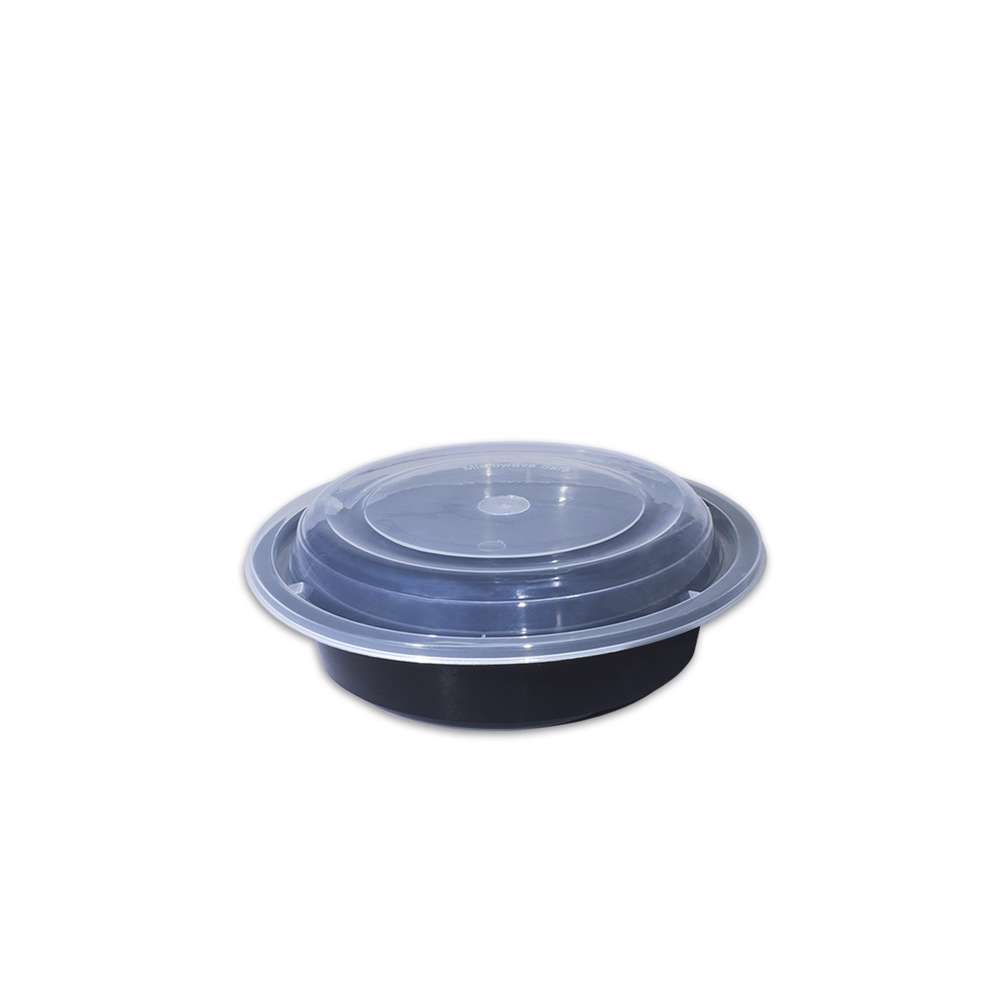 MPC PP Black Base Round Microwaveable Container With Clear Lid RO16- 150pcs