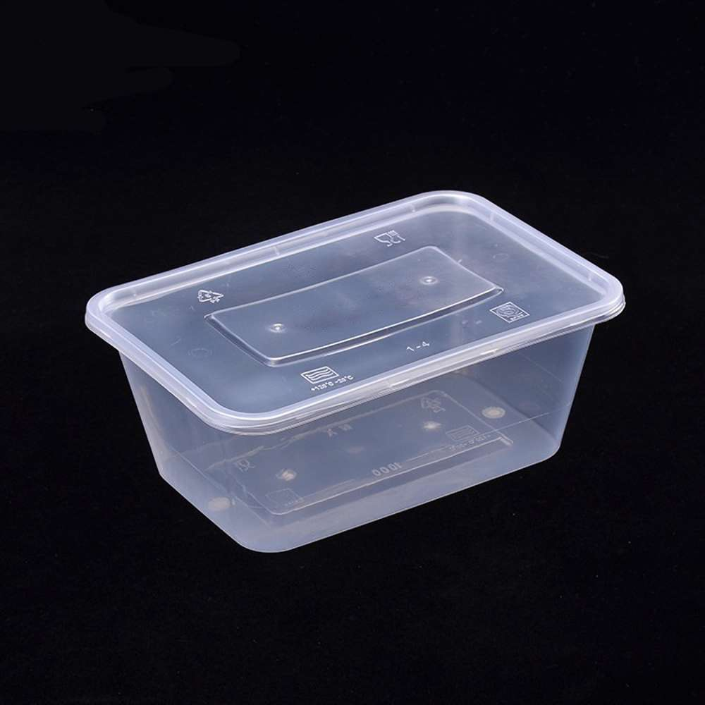 FP Microwave Clear Rectangular Container With Lid 1000ml - 500pcs