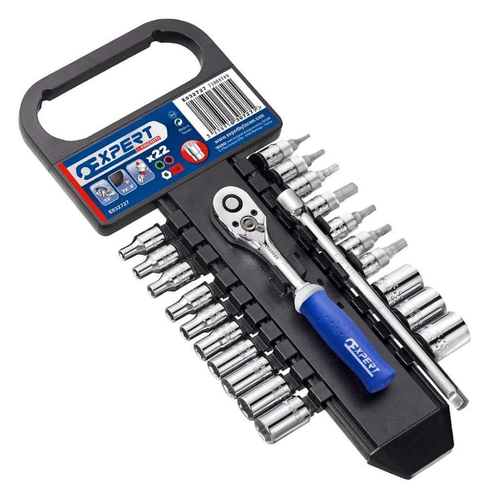 "Expert E030727 1/4"" Drive Socket and Ratchet Socket Set - 4-14mm 22 Pcs"