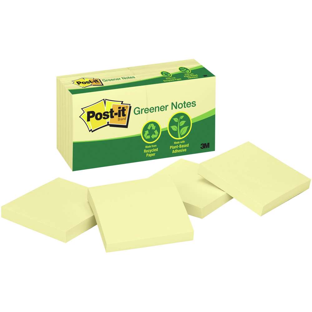 3M Post-It Greener Notes, 3 Inx3 In, Canary Yellow, 12Pack